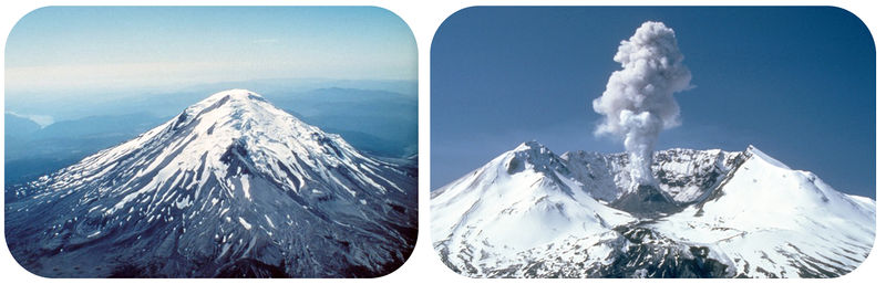 Mount St. Helens was a cone-shaped volcano, then it erupted and blew off its top