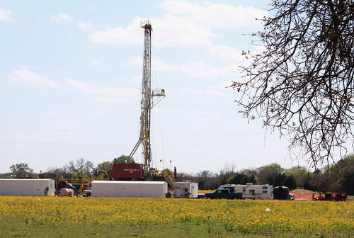 A natural gas drill rig in Texas