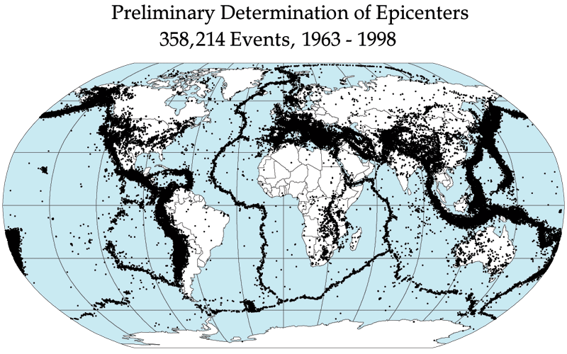 A map of earthquake epicenters, which outline the plates