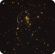 The light of these galaxies is bent by the presence of a black hole