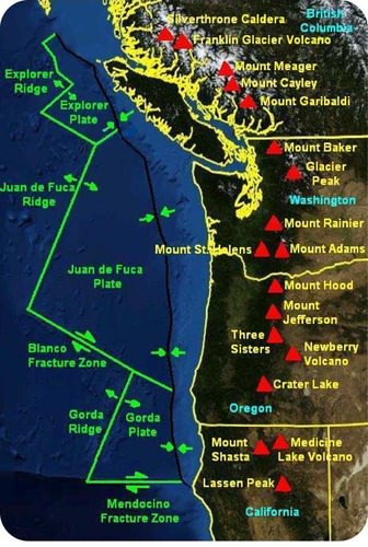Map of volcanoes on the Cascade Range