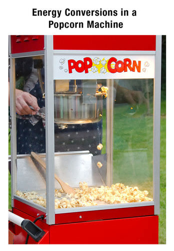 Energy transfer to popcorn in a popcorn machine