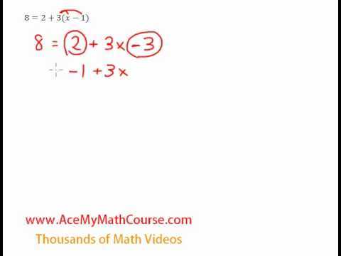 Multi-Steps Equation (Distributive Property) - Question #3