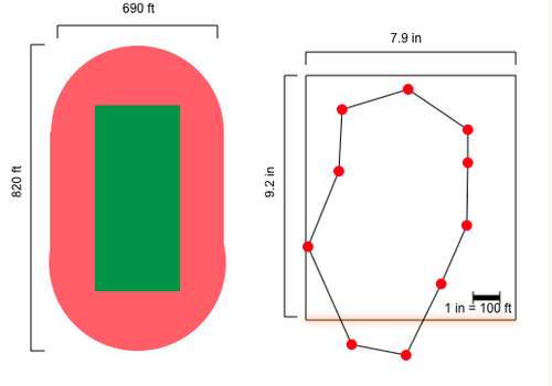 Distances or Dimensions Given Scale Measurements: Scaled Rose Bowl