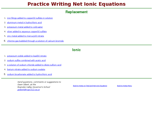 Practice Writing Net Ionic Equations