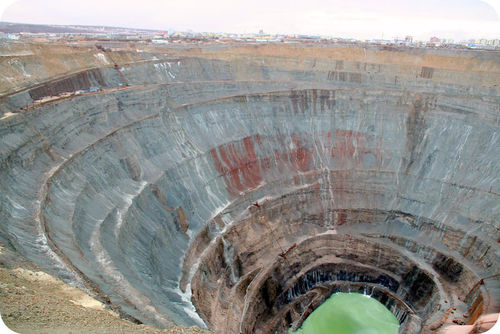 This diamond mine is more than 500 m deep
