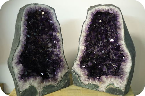 An amethyst geode inside a rock