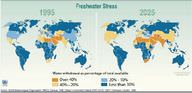 Global map of freshwater stress, 1995 and 2025 (predicted).