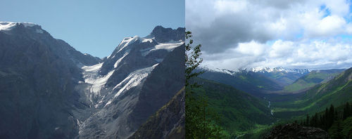 Picture of a valley glacier, and the U-shaped valley it leaves behind