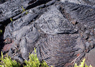 Ropy pahoehoe flows are common on Kilauea Volcano in Hawaii