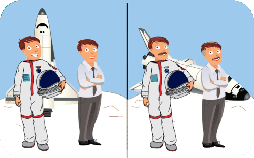 Cartoon of twin astronauts that are of different age illustrating time dilation