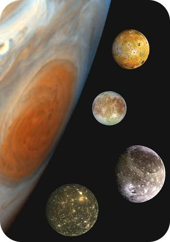 The four Galilean moons: Io, Europa, Ganymede, and Callisto
