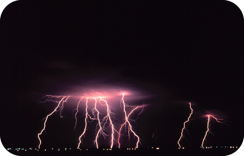 Multiple lightning discharges from a single cloud