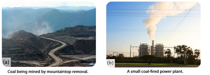 Coal used in power plants must be mined by methods such as mountaintop removal