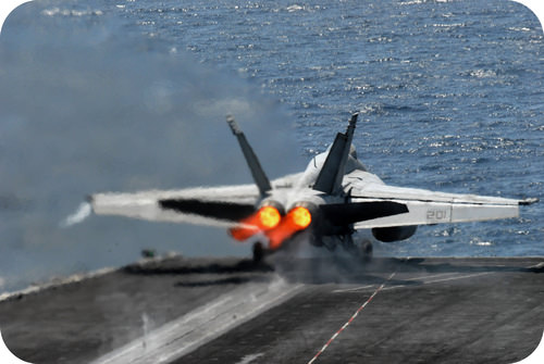 Jet taking off from aircraft carrier has a high velocity and kinetic energy