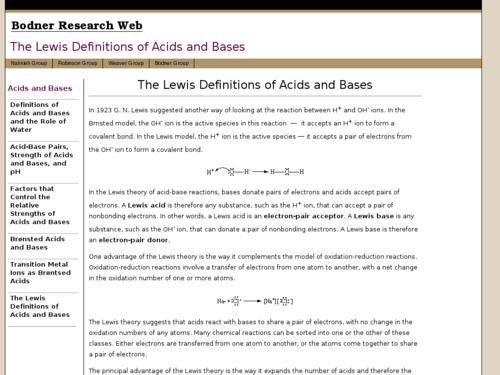 The Lewis Definitions of Acids and Bases