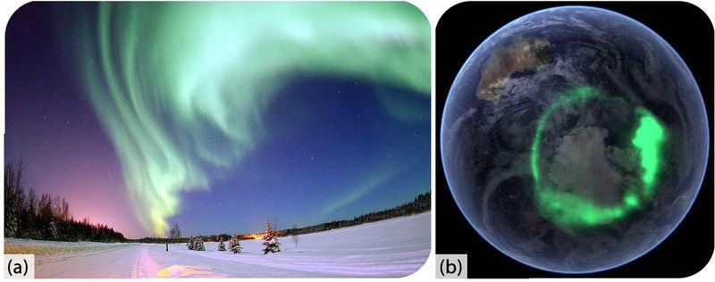 Picture of the aurora borealis and aurora australis
