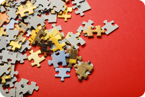 A jigsaw puzzle is initially very disordered