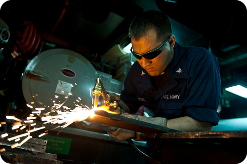 Acetylene torches are used to weld metal