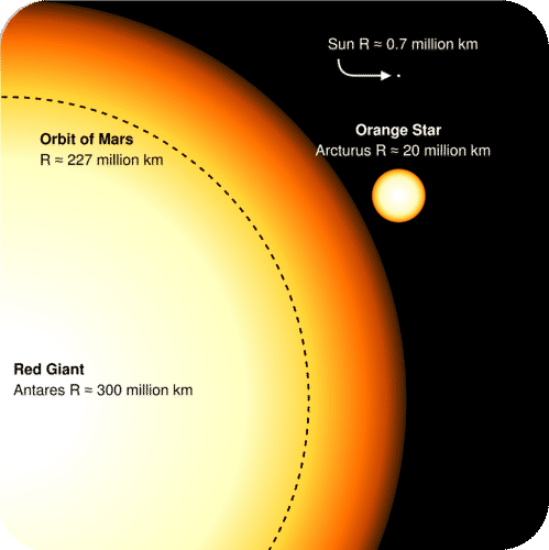 Relative size of a red giant