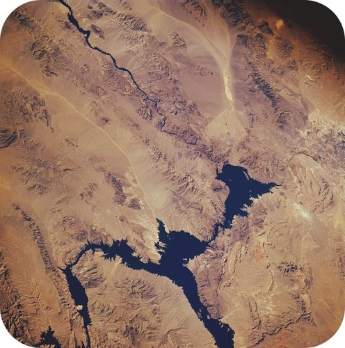 The Hoover Dam creates Lake Mead along the Colorado River
