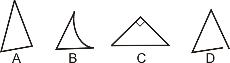 Classifying triangles read geometry ck 12 foundation example 1 which of the figures below are not triangles ccuart Gallery