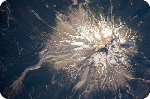 Picture from space of Mt. Hood