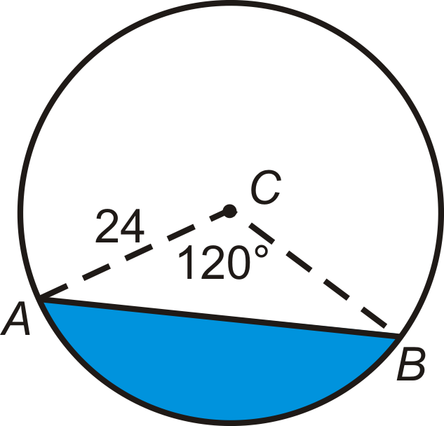 Example 8: Find the area of the blue segment below.